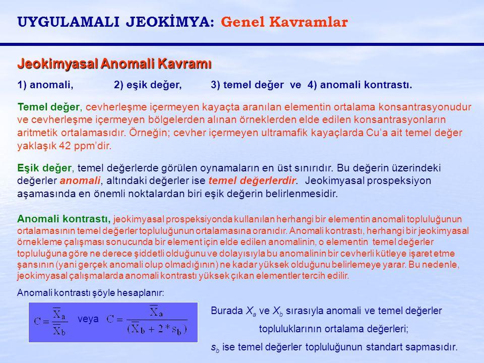 Jeokimyasal Anomali Kavramı 1) anomali, 2) eşik değer, 3) temel değer ve 4) anomali kontrastı. Temel değer, cevherleşme içermeyen kayaçta aranılan ele