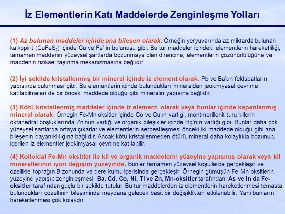 İz Elementlerin Katı Maddelerde Zenginleşme Yolları (1) Az bulunan maddeler içinde ana bileşen olarak. Örneğin yeryuvarında az miktarda bulunan kalkop