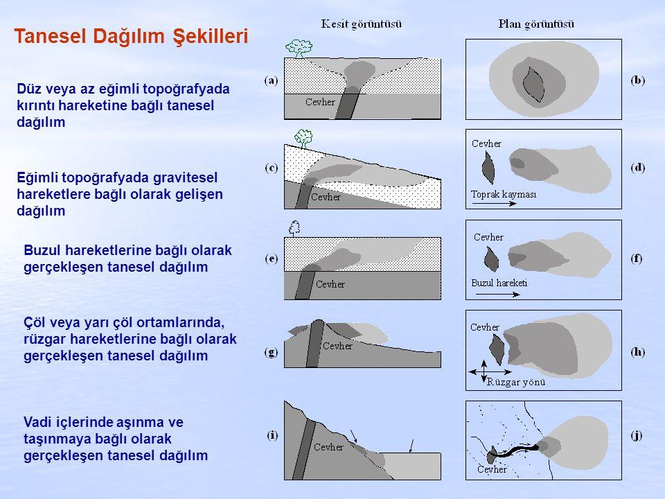 Düz veya az eğimli topoğrafyada kırıntı hareketine bağlı tanesel dağılım Eğimli topoğrafyada gravitesel hareketlere bağlı olarak gelişen dağılım Buzul