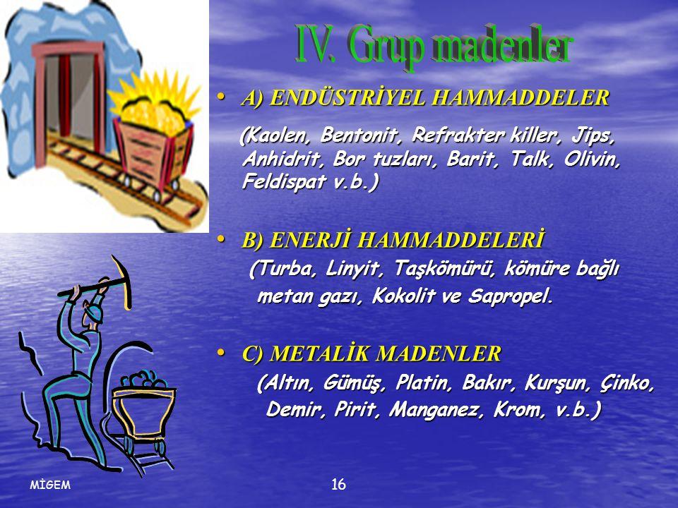MİGEM 16 • A) ENDÜSTRİYEL HAMMADDELER (Kaolen, Bentonit, Refrakter killer, Jips, Anhidrit, Bor tuzları, Barit, Talk, Olivin, Feldispat v.b.) (Kaolen,