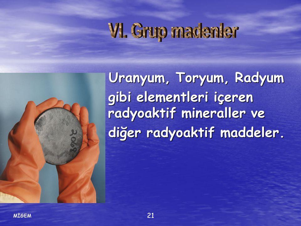 MİGEM 21 Uranyum, Toryum, Radyum Uranyum, Toryum, Radyum gibi elementleri içeren radyoaktif mineraller ve gibi elementleri içeren radyoaktif mineralle