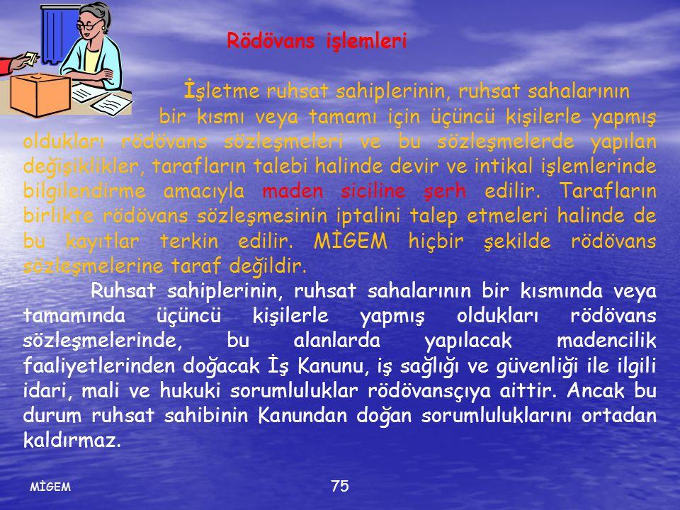 MİGEM 75 Rödövans işlemleri İşletme ruhsat sahiplerinin, ruhsat sahalarının bir kısmı veya tamamı için üçüncü kişilerle yapmış oldukları rödövans sözl