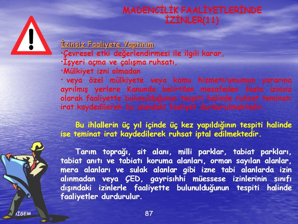 MİGEM 87 İzinsiz Faaliyete Yaptırım •Çevresel etki değerlendirmesi ile ilgili karar, •İşyeri açma ve çalışma ruhsatı, •Mülkiyet izni olmadan • veya öz