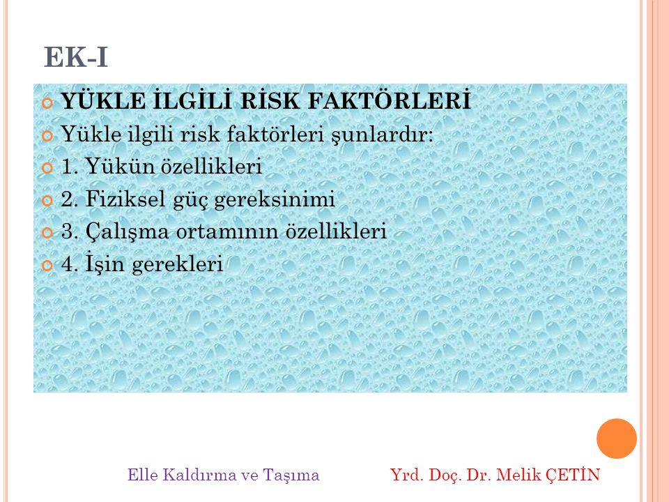 EK-I YÜKLE İLGİLİ RİSK FAKTÖRLERİ Yükle ilgili risk faktörleri şunlardır: 1.