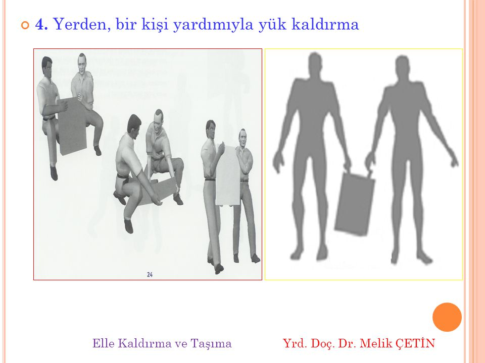 4. Yerden, bir kişi yardımıyla yük kaldırma Elle Kaldırma ve Taşıma Yrd. Doç. Dr. Melik ÇETİN