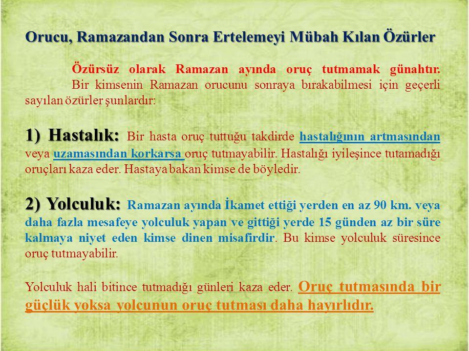 Orucu, Ramazandan Sonra Ertelemeyi Mübah Kılan Özürler Özürsüz olarak Ramazan ayında oruç tutmamak günahtır. Bir kimsenin Ramazan orucunu sonraya bıra