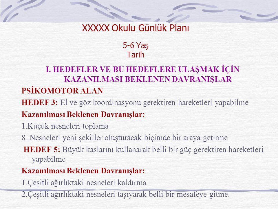 XXXXX Okulu Günlük Planı 5-6 Yaş Tarih I.