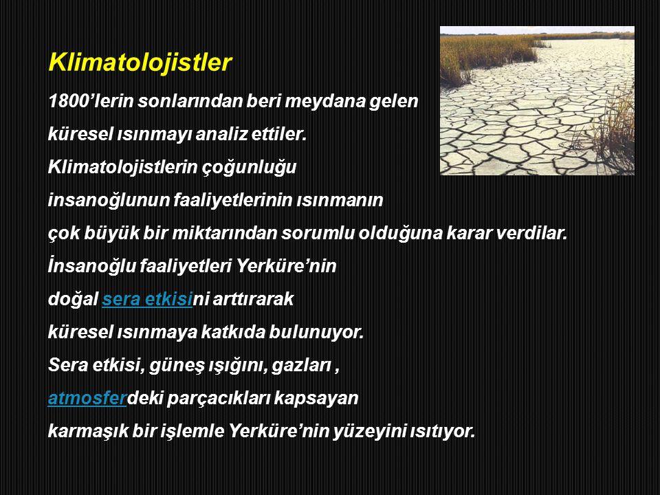 Klimatolojistler 1800'lerin sonlarından beri meydana gelen küresel ısınmayı analiz ettiler. Klimatolojistlerin çoğunluğu insanoğlunun faaliyetlerinin