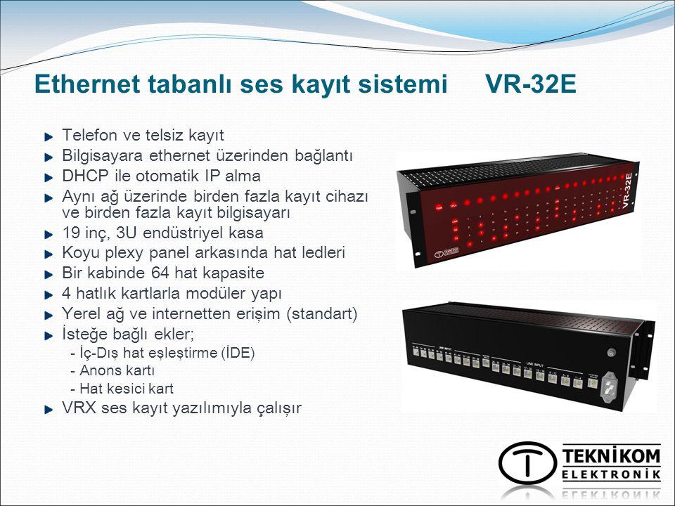 Ethernet tabanlı ses kayıt sistemi VR-32E Telefon ve telsiz kayıt Bilgisayara ethernet üzerinden bağlantı DHCP ile otomatik IP alma Aynı ağ üzerinde b