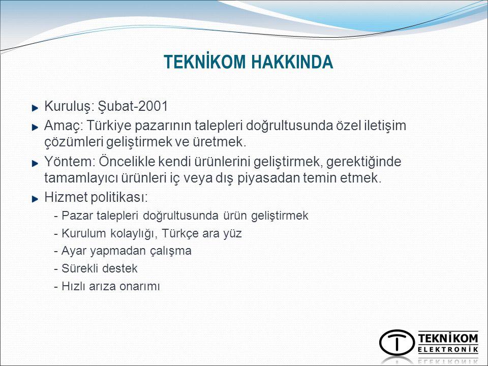 TEKNİKOM HAKKINDA Kuruluş: Şubat-2001 Amaç: Türkiye pazarının talepleri doğrultusunda özel iletişim çözümleri geliştirmek ve üretmek. Yöntem: Öncelikl