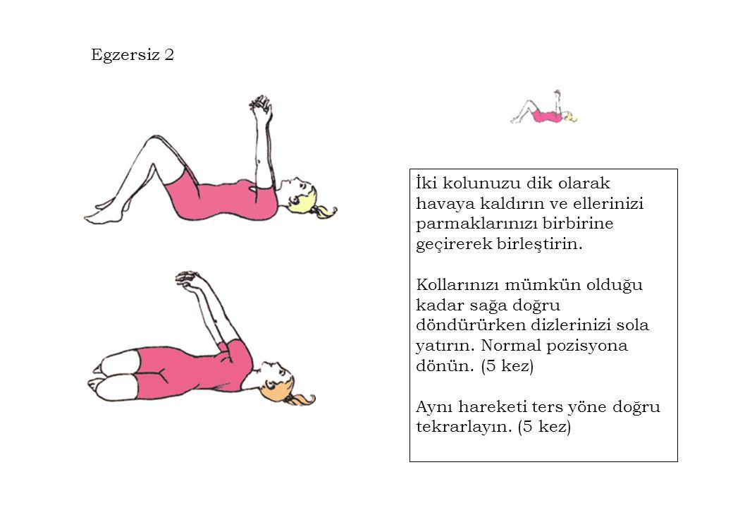 Egzersiz 2 İki kolunuzu dik olarak havaya kaldırın ve ellerinizi parmaklarınızı birbirine geçirerek birleştirin. Kollarınızı mümkün olduğu kadar sağa