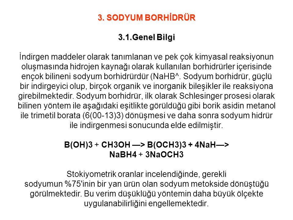 3. SODYUM BORHİDRÜR 3.1.Genel Bilgi 3. SODYUM BORHİDRÜR 3.1.Genel Bilgi İndirgen maddeler olarak tanımlanan ve pek çok kimyasal reaksiyonun oluşmasınd