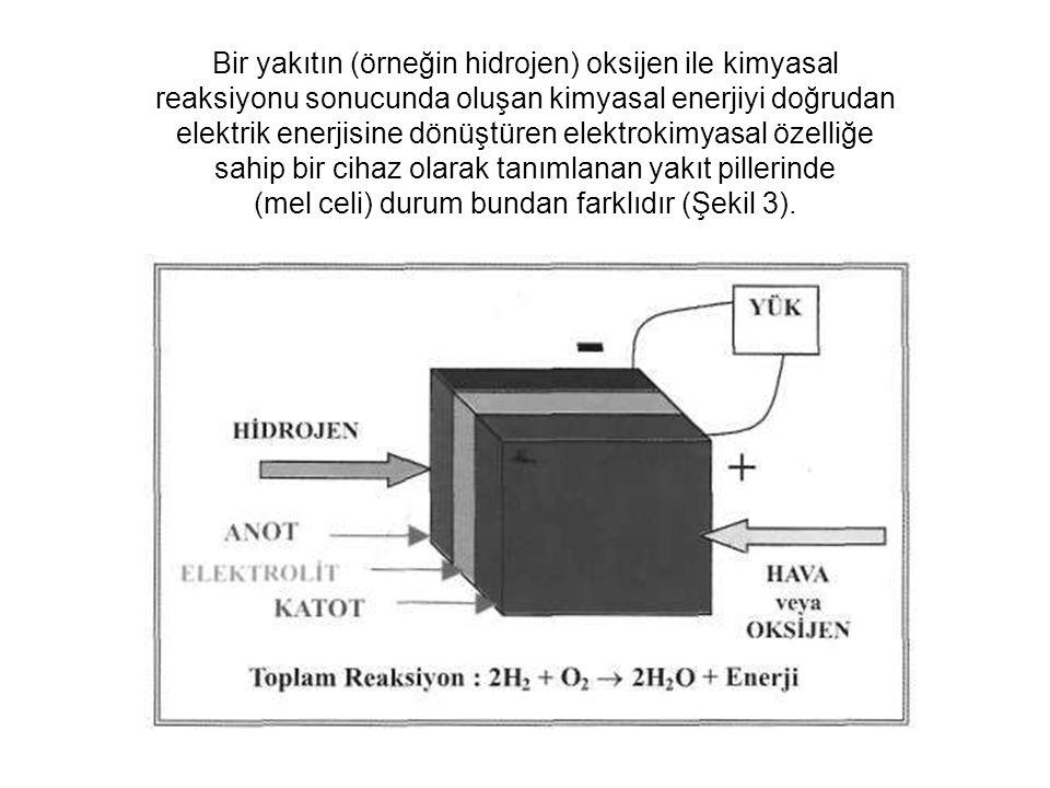Bir yakıtın (örneğin hidrojen) oksijen ile kimyasal reaksiyonu sonucunda oluşan kimyasal enerjiyi doğrudan elektrik enerjisine dönüştüren elektrokimya