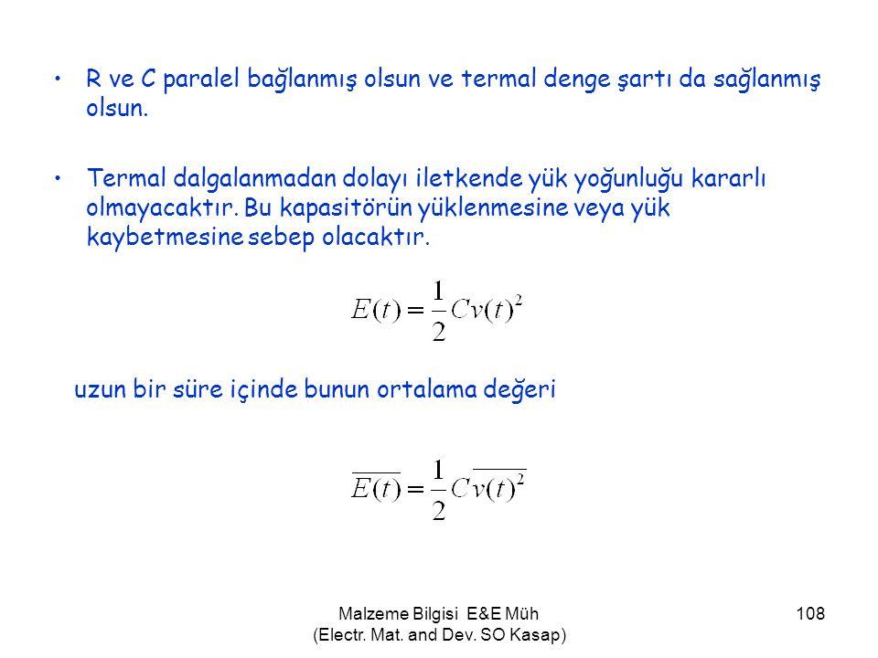Malzeme Bilgisi E&E Müh (Electr. Mat. and Dev. SO Kasap) 108 •R ve C paralel bağlanmış olsun ve termal denge şartı da sağlanmış olsun. •Termal dalgala