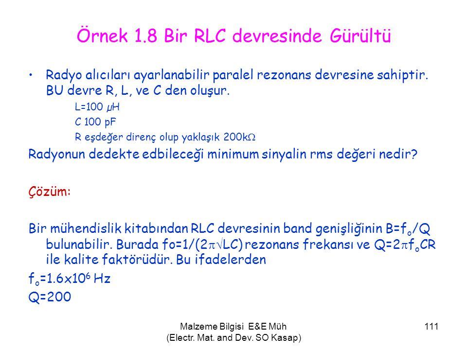Malzeme Bilgisi E&E Müh (Electr. Mat. and Dev. SO Kasap) 111 Örnek 1.8 Bir RLC devresinde Gürültü •Radyo alıcıları ayarlanabilir paralel rezonans devr