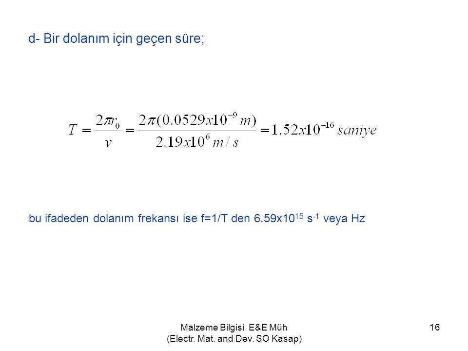 Malzeme Bilgisi E&E Müh (Electr. Mat. and Dev. SO Kasap) 16 d- Bir dolanım için geçen süre; bu ifadeden dolanım frekansı ise f=1/T den 6.59x10 15 s -1