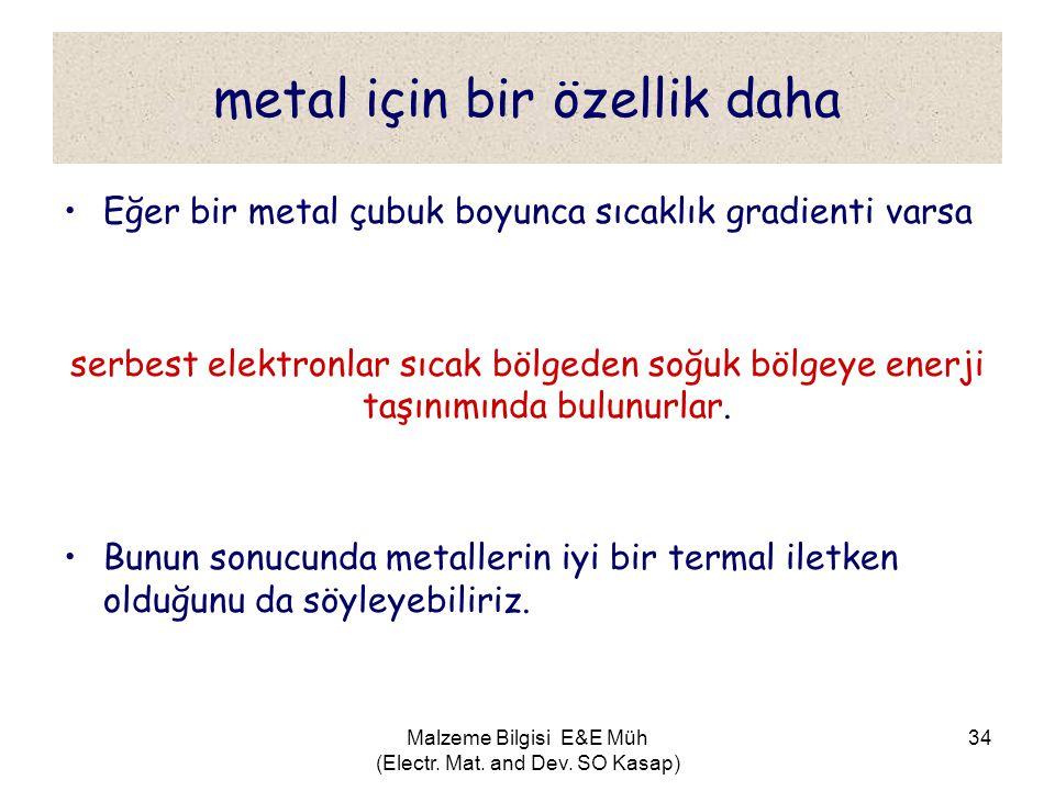 Malzeme Bilgisi E&E Müh (Electr. Mat. and Dev. SO Kasap) 34 metal için bir özellik daha •Eğer bir metal çubuk boyunca sıcaklık gradienti varsa serbest