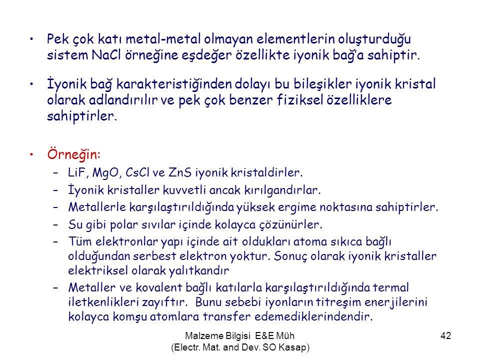 Malzeme Bilgisi E&E Müh (Electr. Mat. and Dev. SO Kasap) 42 •Pek çok katı metal-metal olmayan elementlerin oluşturduğu sistem NaCl örneğine eşdeğer öz