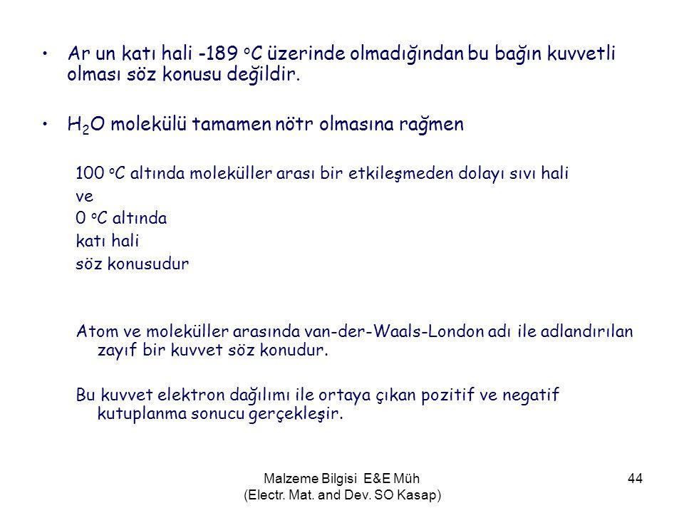 Malzeme Bilgisi E&E Müh (Electr. Mat. and Dev. SO Kasap) 44 •Ar un katı hali -189 o C üzerinde olmadığından bu bağın kuvvetli olması söz konusu değild