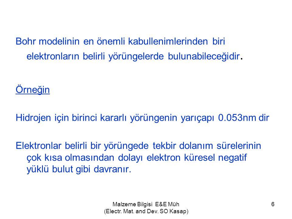 Malzeme Bilgisi E&E Müh (Electr. Mat. and Dev. SO Kasap) 6 Bohr modelinin en önemli kabullenimlerinden biri elektronların belirli yörüngelerde bulunab