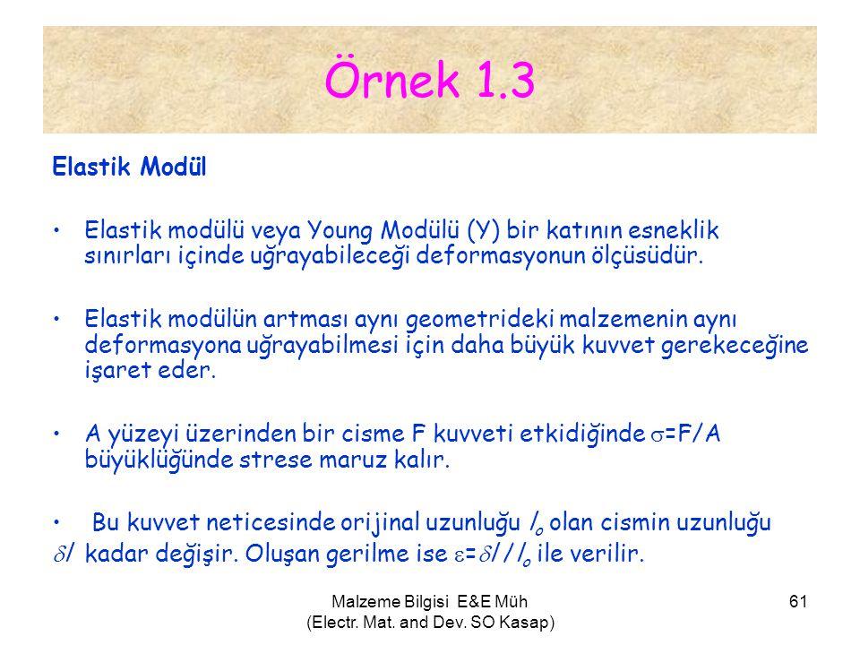 Malzeme Bilgisi E&E Müh (Electr. Mat. and Dev. SO Kasap) 61 Örnek 1.3 Elastik Modül •Elastik modülü veya Young Modülü (Y) bir katının esneklik sınırla