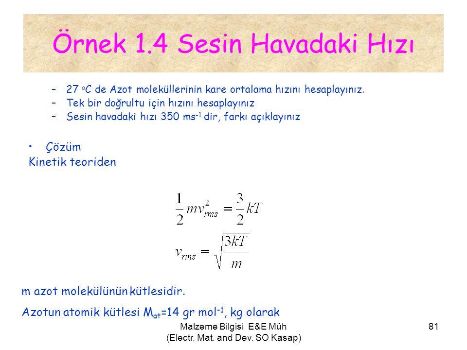 Malzeme Bilgisi E&E Müh (Electr. Mat. and Dev. SO Kasap) 81 Örnek 1.4 Sesin Havadaki Hızı –27 o C de Azot moleküllerinin kare ortalama hızını hesaplay