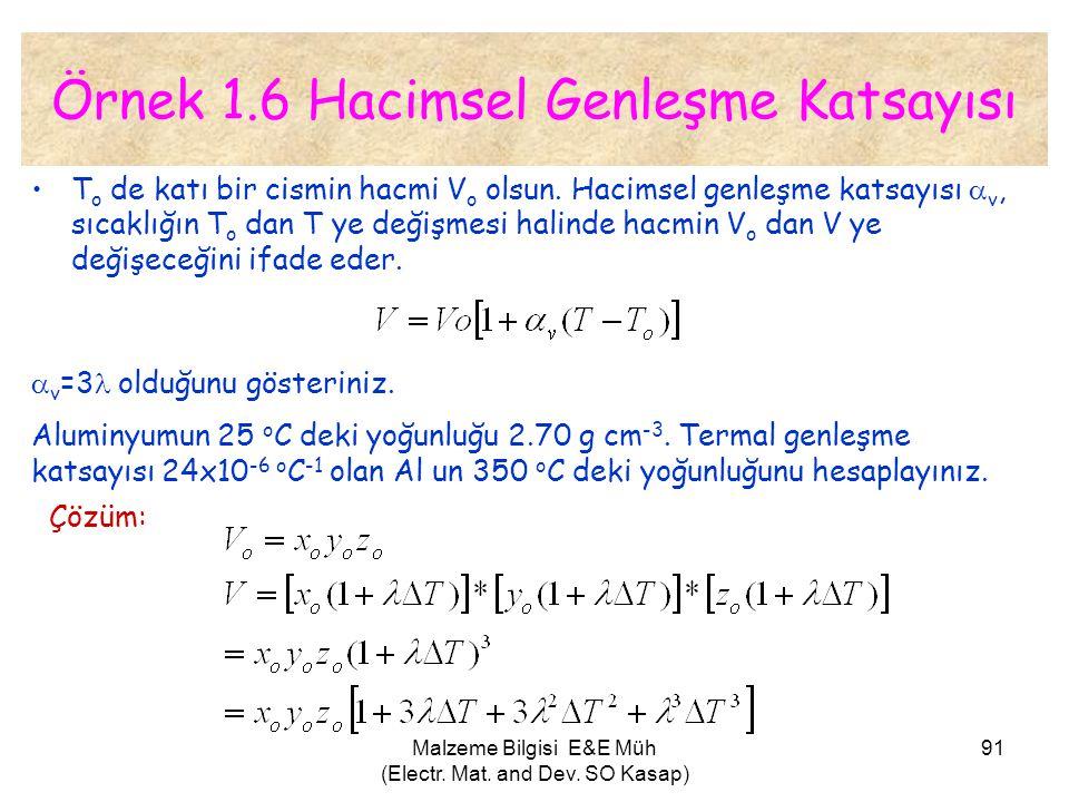 Malzeme Bilgisi E&E Müh (Electr. Mat. and Dev. SO Kasap) 91 Örnek 1.6 Hacimsel Genleşme Katsayısı •T o de katı bir cismin hacmi V o olsun. Hacimsel ge