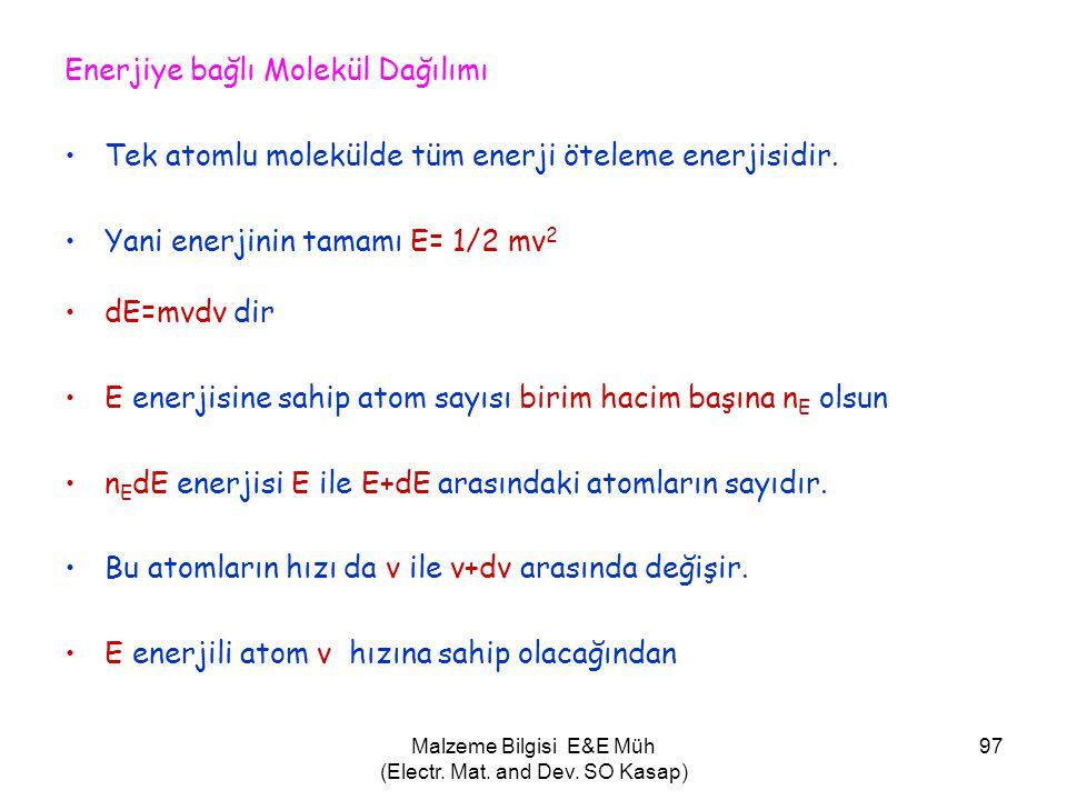 Malzeme Bilgisi E&E Müh (Electr. Mat. and Dev. SO Kasap) 97 Enerjiye bağlı Molekül Dağılımı •Tek atomlu molekülde tüm enerji öteleme enerjisidir. •Yan