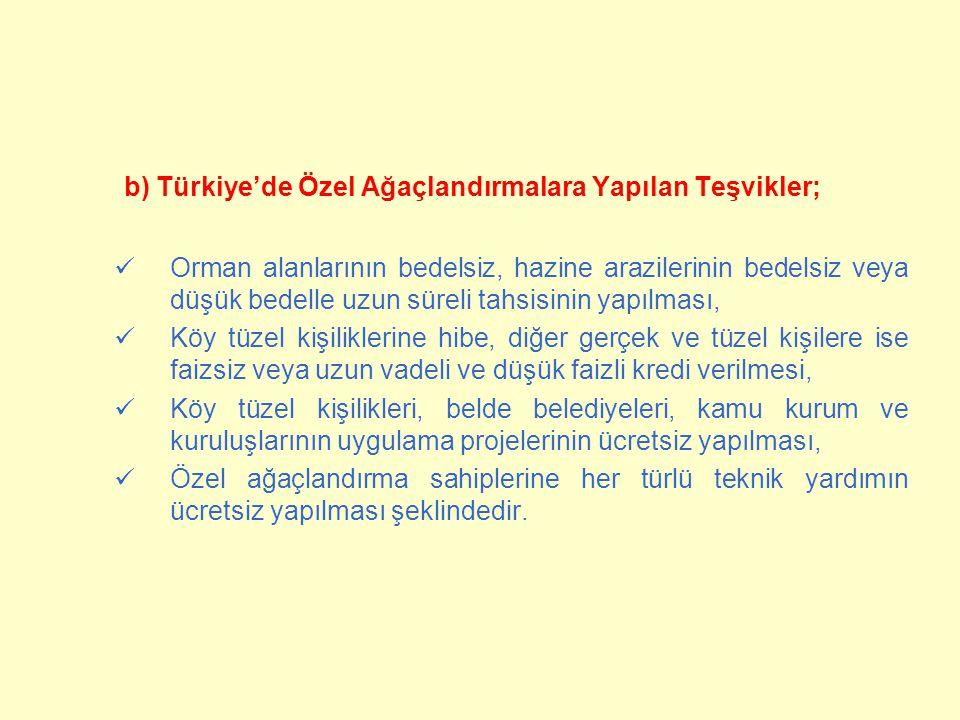 b) Türkiye'de Özel Ağaçlandırmalara Yapılan Teşvikler;  Orman alanlarının bedelsiz, hazine arazilerinin bedelsiz veya düşük bedelle uzun süreli tahsi