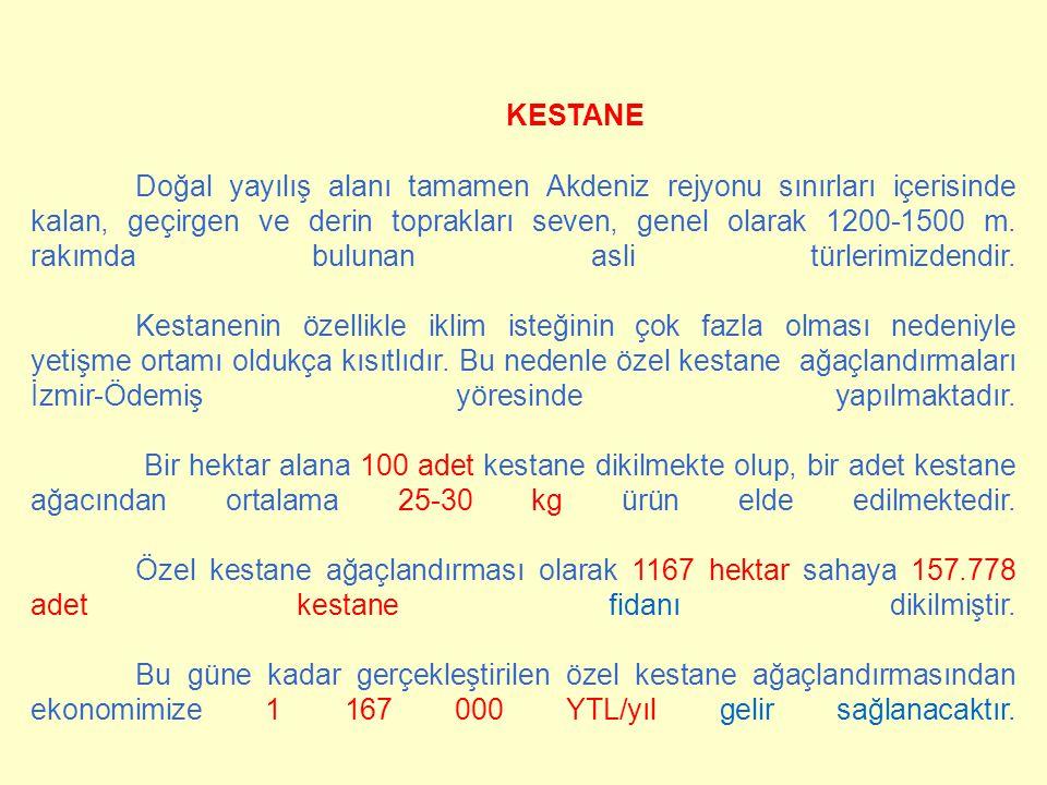 KESTANE Doğal yayılış alanı tamamen Akdeniz rejyonu sınırları içerisinde kalan, geçirgen ve derin toprakları seven, genel olarak 1200-1500 m. rakımda