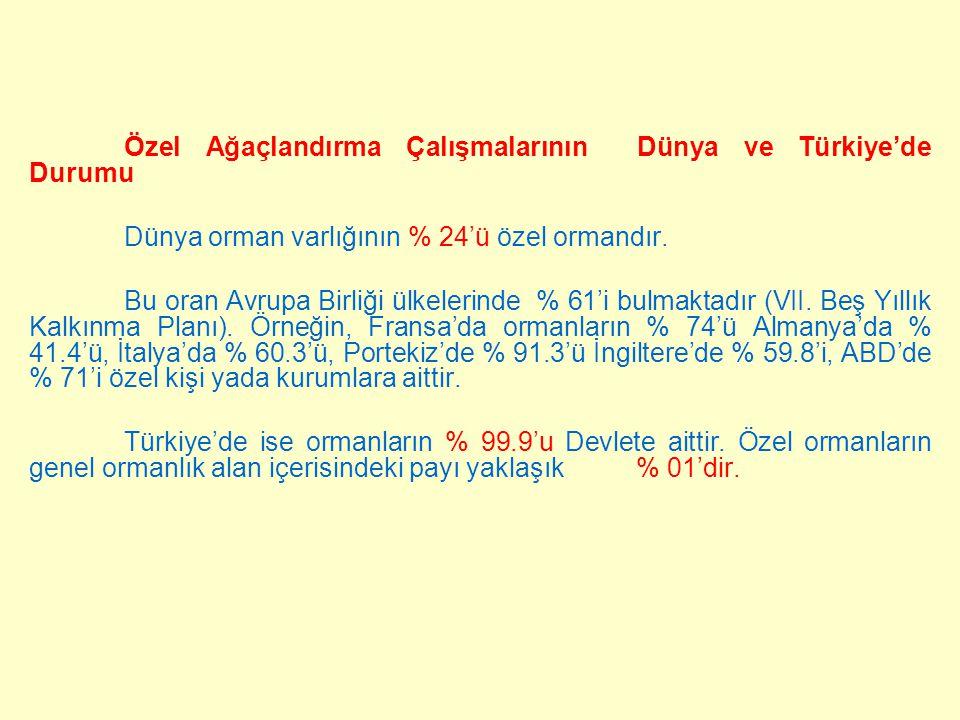 Özel Ağaçlandırma Çalışmalarının Dünya ve Türkiye'de Durumu Dünya orman varlığının % 24'ü özel ormandır. Bu oran Avrupa Birliği ülkelerinde % 61'i bul