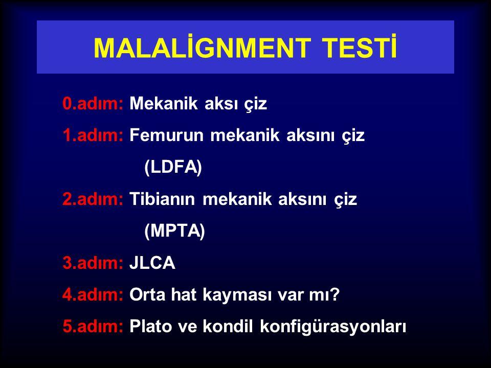 RADYOLOJİK DEĞERLENDİRME 1. Malalignment testi 2. Malorientasyon değerlendirmesi 3. Sagittal plan değerlendirmesi 4. Deformitenin yerinin ve düzeltme