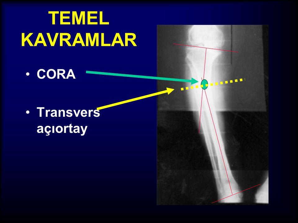 TEMEL KAVRAMLAR •Açılanmanın apeksi (tepe noktası), uniapikal / multiapikal deformiteler •CORA: Center Of Rotation of Angulation (Açılanmanın merkez n