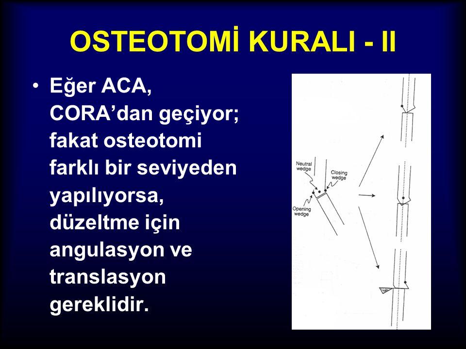 OSTEOTOMİ KURALI - I •Eğer osteotomi hattı ve ACA, CORA'dan farklı seviyede olursa translasyon ortaya çıkar.