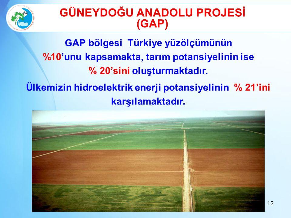 GÜNEYDOĞU ANADOLU PROJESİ (GAP) GAP bölgesi Türkiye yüzölçümünün %10'unu kapsamakta, tarım potansiyelinin ise % 20'sini oluşturmaktadır. Ülkemizin hid