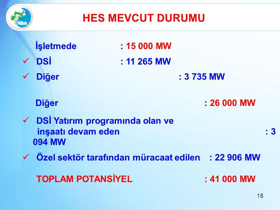 HES MEVCUT DURUMU İşletmede: 15 000 MW  DSİ: 11 265 MW  Diğer : 3 735 MW Diğer: 26 000 MW  DSİ Yatırım programında olan ve inşaatı devam eden : 3 0