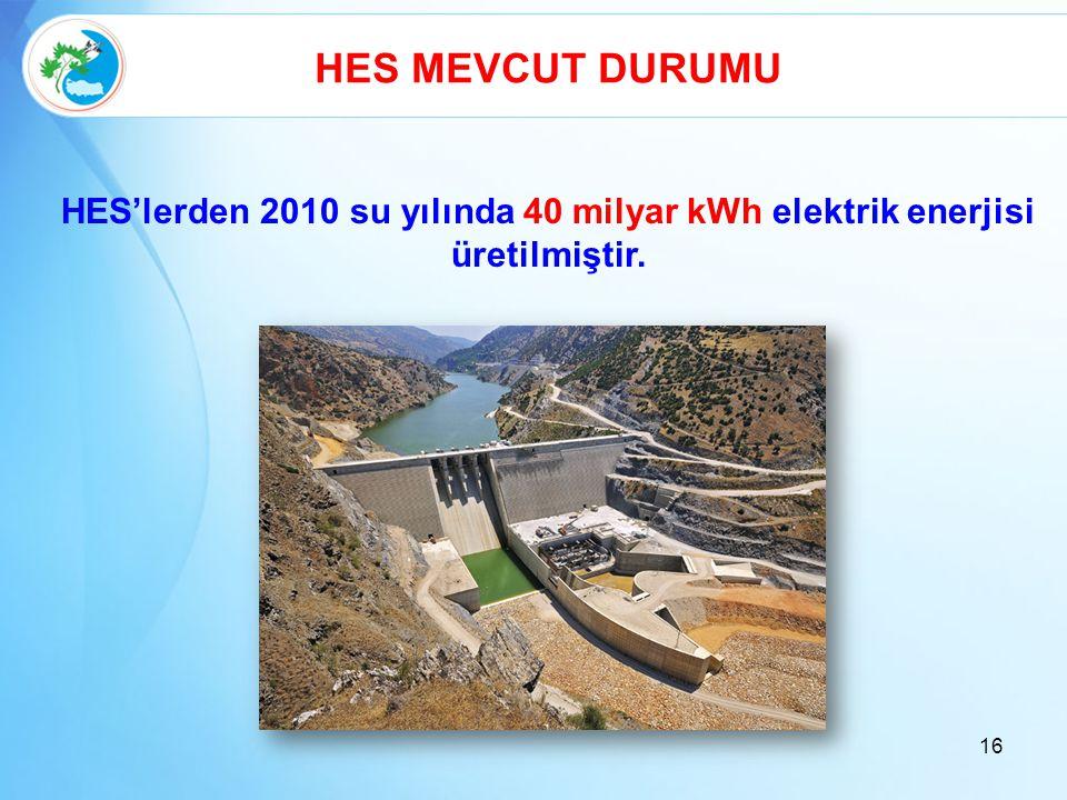 HES'lerden 2010 su yılında 40 milyar kWh elektrik enerjisi üretilmiştir. HES MEVCUT DURUMU 16