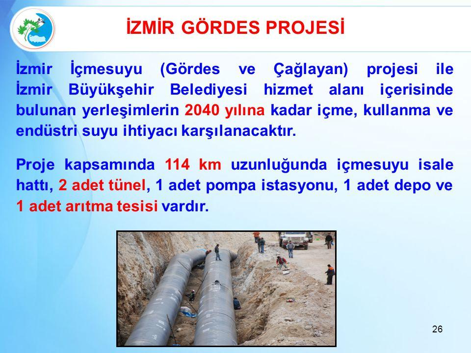 İZMİR GÖRDES PROJESİ İzmir İçmesuyu (Gördes ve Çağlayan) projesi ile İzmir Büyükşehir Belediyesi hizmet alanı içerisinde bulunan yerleşimlerin 2040 yı