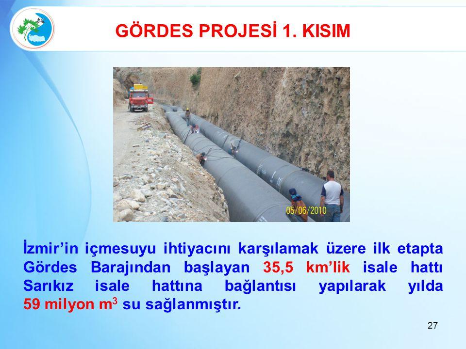 GÖRDES PROJESİ 1. KISIM İzmir'in içmesuyu ihtiyacını karşılamak üzere ilk etapta Gördes Barajından başlayan 35,5 km'lik isale hattı Sarıkız isale hatt