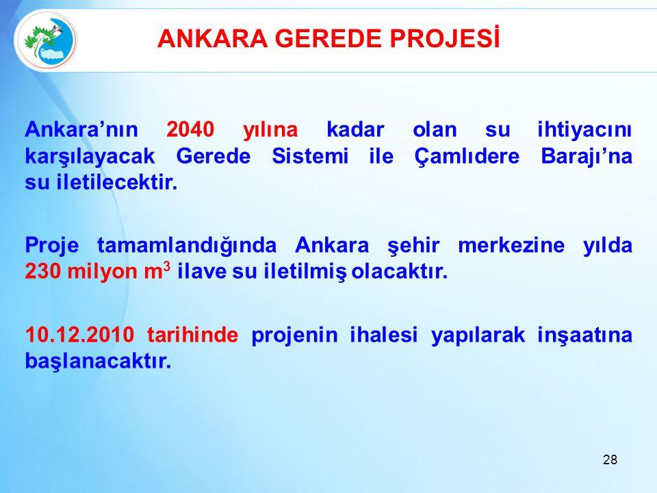 ANKARA GEREDE PROJESİ Ankara'nın 2040 yılına kadar olan su ihtiyacını karşılayacak Gerede Sistemi ile Çamlıdere Barajı'na su iletilecektir. Proje tama
