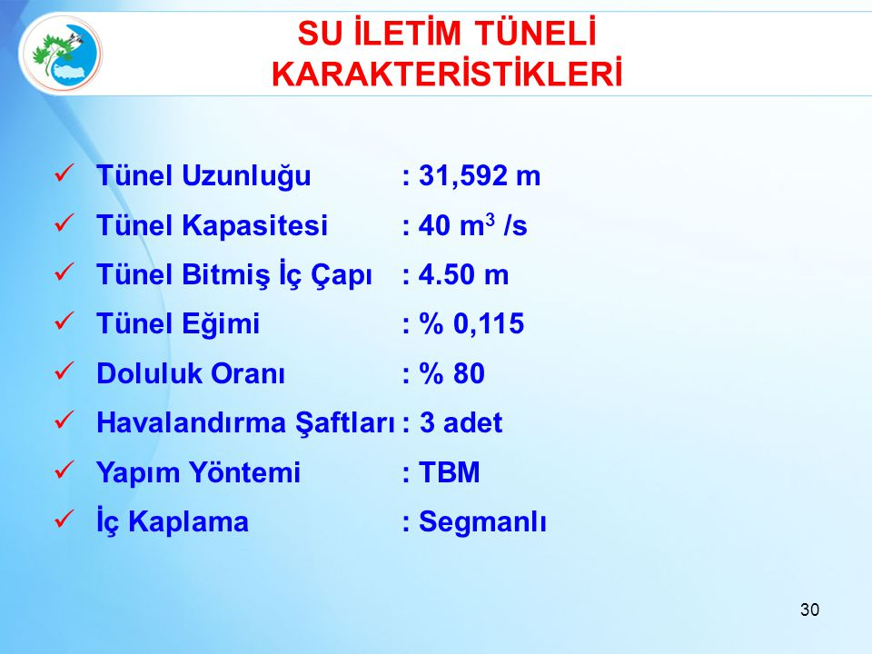 SU İLETİM TÜNELİ KARAKTERİSTİKLERİ  Tünel Uzunluğu: 31,592 m  Tünel Kapasitesi: 40 m 3 /s  Tünel Bitmiş İç Çapı: 4.50 m  Tünel Eğimi: % 0,115  Do