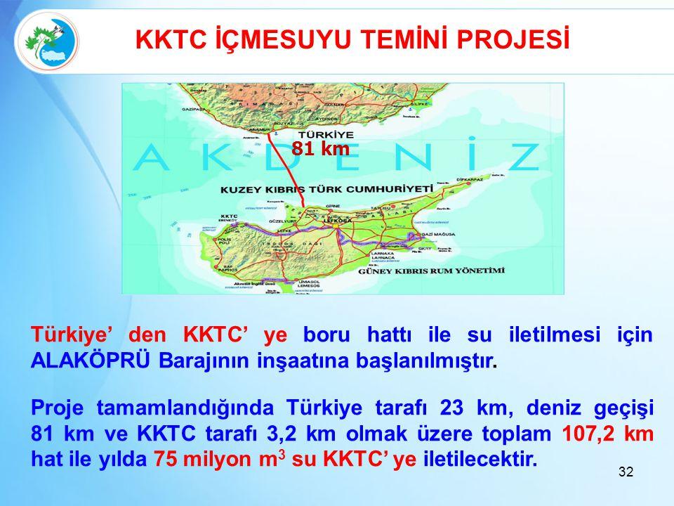KKTC İÇMESUYU TEMİNİ PROJESİ 81 km Türkiye' den KKTC' ye boru hattı ile su iletilmesi için ALAKÖPRÜ Barajının inşaatına başlanılmıştır. Proje tamamlan