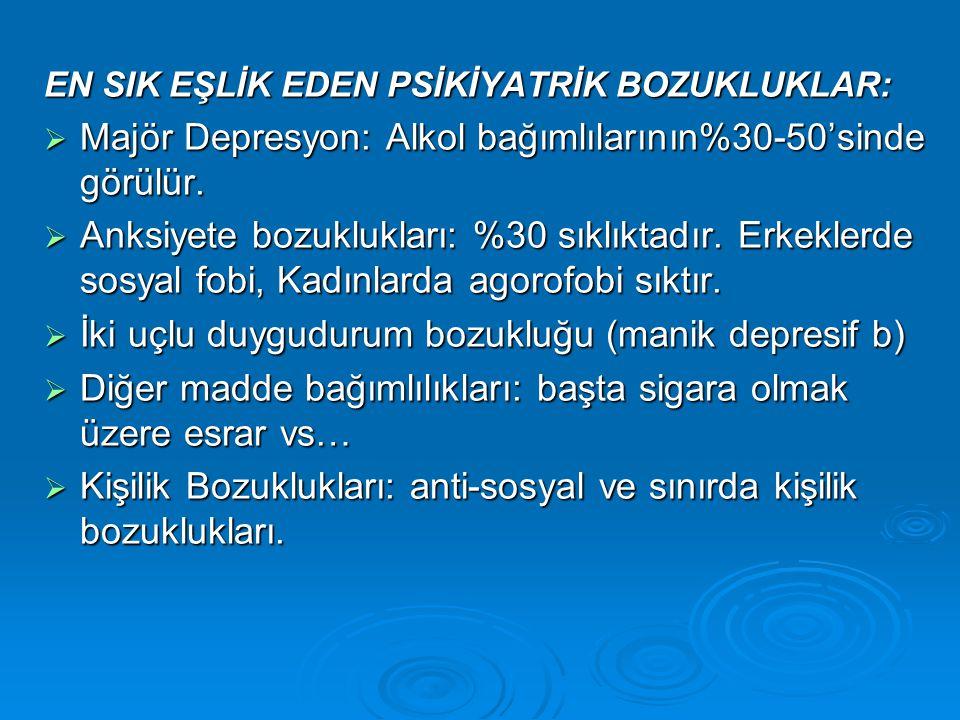 EN SIK EŞLİK EDEN PSİKİYATRİK BOZUKLUKLAR:  Majör Depresyon: Alkol bağımlılarının%30-50'sinde görülür.  Anksiyete bozuklukları: %30 sıklıktadır. Erk
