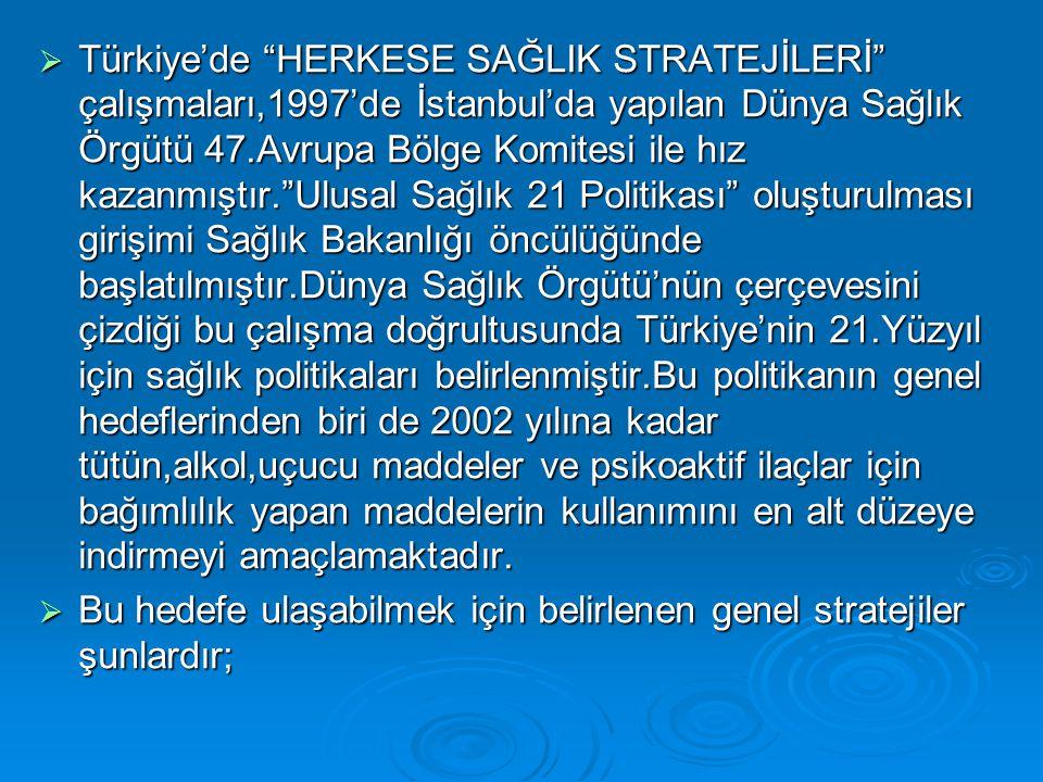 """ Türkiye'de """"HERKESE SAĞLIK STRATEJİLERİ"""" çalışmaları,1997'de İstanbul'da yapılan Dünya Sağlık Örgütü 47.Avrupa Bölge Komitesi ile hız kazanmıştır.""""U"""