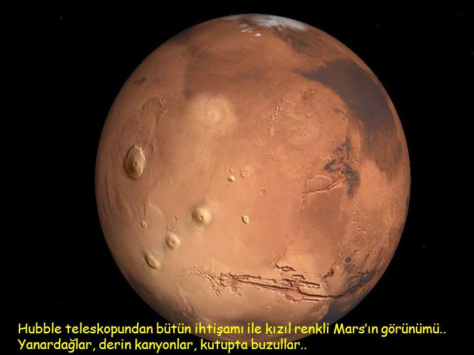 Dünyaya yörünge yakınlığı 78 milyon km. ile ikinci komşu gezegen.. Sakıt (Mars) ve iki küçük uydusu Fobos ve Deymos'un temsili yörüngeleri..