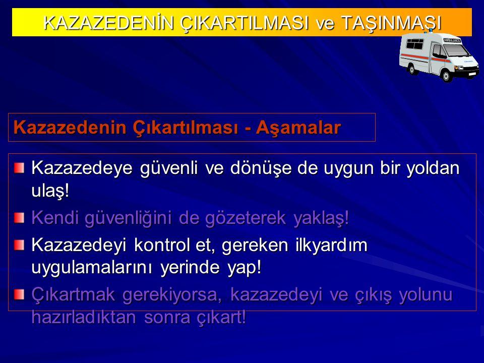 Kazazedenin Çıkartılması - Aşamalar KAZAZEDENİN ÇIKARTILMASI ve TAŞINMASI Kazazedeye güvenli ve dönüşe de uygun bir yoldan ulaş.