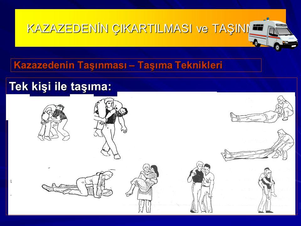 KAZAZEDENİN ÇIKARTILMASI ve TAŞINMASI Kazazedenin Taşınması – Taşıma Teknikleri Tek kişi ile taşıma: