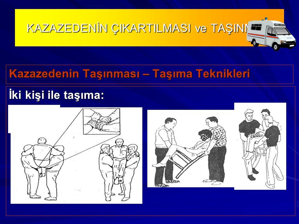 KAZAZEDENİN ÇIKARTILMASI ve TAŞINMASI Kazazedenin Taşınması – Taşıma Teknikleri İki kişi ile taşıma: