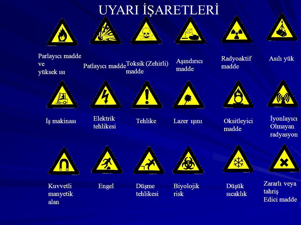 Parlayıcı madde ve yüksek ısı Patlayıcı madde Toksik (Zehirli) madde Aşındırıcı madde Radyoaktif madde Asılı yük İş makinası UYARI İŞARETLERİ Elektrik tehlikesi TehlikeLazer ışınıOksitleyici madde İyonlayıcı Olmayan radyasyon Kuvvetli manyetik alan EngelDüşme tehlikesi Biyolojik risk Düşük sıcaklık Zararlı veya tahriş Edici madde