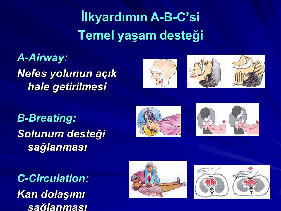 İlkyardımın A-B-C'si Temel yaşam desteği A-Airway: Nefes yolunun açık hale getirilmesi B-Breating: Solunum desteği sağlanması C-Circulation: Kan dolaşımı sağlanması